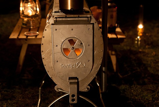 Eldfell wood burning tent stove simmering into the night.